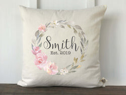 Personalized Pink and Gray Watercolor Floral Wreath Pillow Cover - Returning Grace Designs