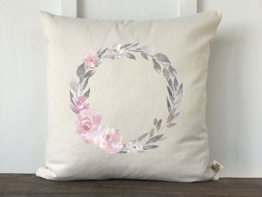 Pink and Gray Watercolor Floral Wreath Pillow Cover - Returning Grace Designs