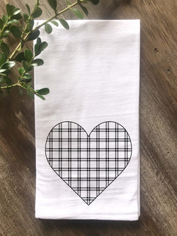 Plaid Heart Flour Sack Tea Towel - Returning Grace Designs