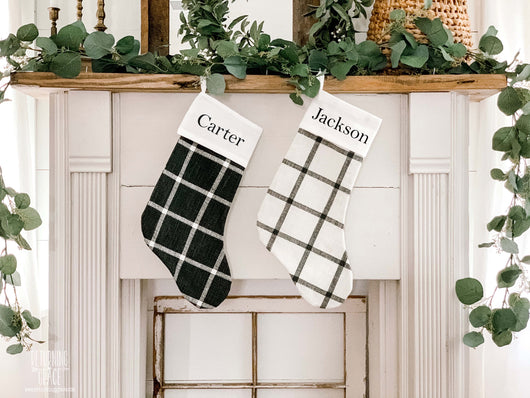 Plaid Linen Christmas Stockings - Personalized Block Font - Returning Grace Designs