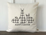 Plaid Rabbit Happy Easter Pillow Cover - Returning Grace Designs