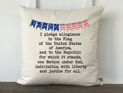 Pledge of Allegiance with Banner Pillow Cover - Returning Grace Designs