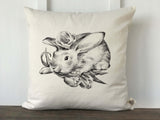 Hand Drawn Baby Rabbit with Flower Pillow Cover - Returning Grace Designs