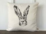 Hand Drawn Rabbit Face Pillow Cover - Returning Grace Designs