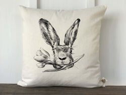 Hand drawn Rabbit Face with Flower Pillow Cover - Returning Grace Designs