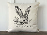 Hand Drawn Rabbit Face with Flower Welcome Pillow Cover - Returning Grace Designs