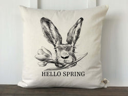 Hand Drawn Rabbit Face with Flower Hello Spring Pillow Cover - Returning Grace Designs