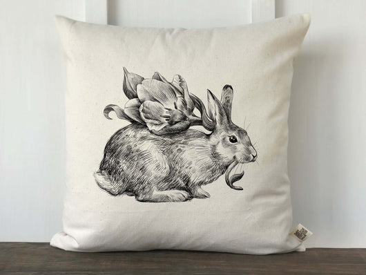 Hand Drawn Rabbit with Flower Pillow Cover - Returning Grace Designs