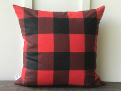 Buffalo Check Farmhouse Pillow Cover - Red and Black - Returning Grace Designs