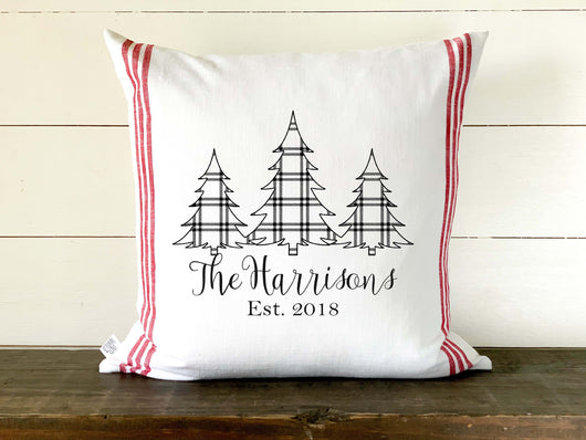 Red and White Grain Sack Linen Plaid Trees Personalized Pillow Cover