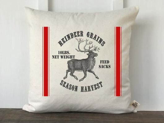 Christmas Reindeer Grain Sack No 10 Pillow Cover - Returning Grace Designs