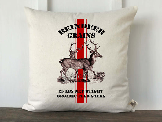 Christmas Reindeer Grain Sack Pillow Cover - Returning Grace Designs