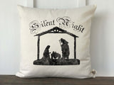 Silent Night Nativity Scene Christmas Pillow Cover