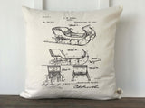 Sleigh Patent Vintage Christmas Pillow Cover - Returning Grace Designs