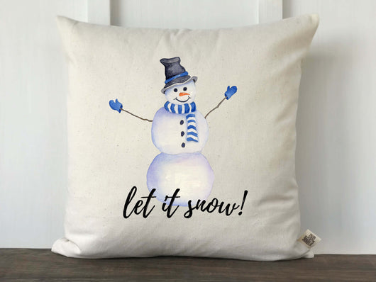 Let It Snow Watercolor Snowman Pillow Cover - Returning Grace Designs