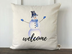 Watercolor Snowman Welcome Pillow Cover - Returning Grace Designs