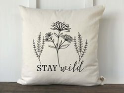 Stay Wild Wildflower Pillow Cover