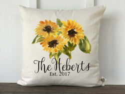 Watercolor Sunflower Personalized Pillow Cover - Returning Grace Designs