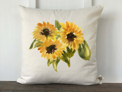 Watercolor Sunflower Trio Pillow Cover - Returning Grace Designs