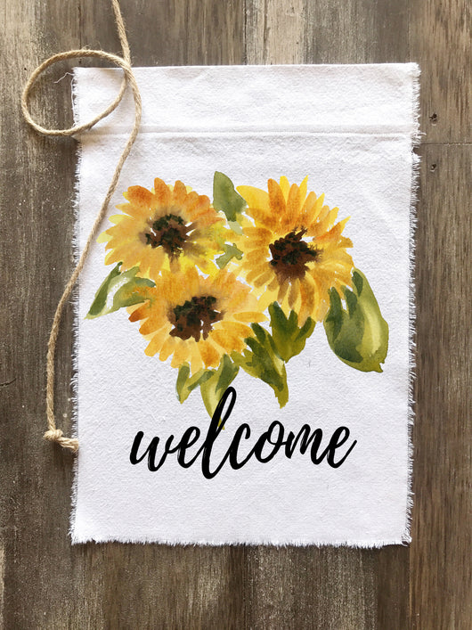 Sunflower Welcome Canvas Flag - Returning Grace Designs