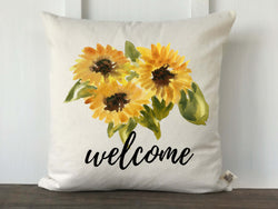 Welcome Watercolor Sunflower Trio Pillow Cover - Returning Grace Designs