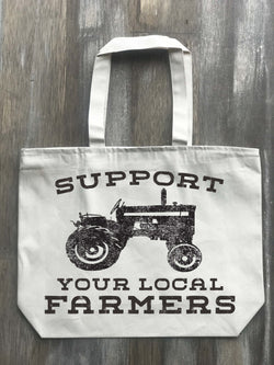 Support Your Local Farmers Canvas Zippered Tote - Returning Grace Designs