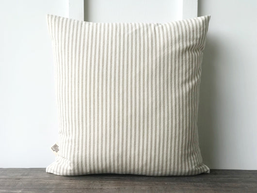 Tan Ticking Pillow Cover - Returning Grace Designs