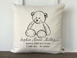 Teddy Bear Personalized Baby Pillow Cover - Returning Grace Designs