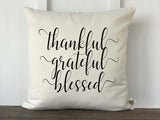 Thankful Grateful Blessed Pumpkin Farmhouse Fall Pillow Cover - Returning Grace Designs