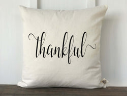 Thankful Script Farmhouse Fall Pillow Cover - Returning Grace Designs