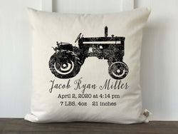 Tractor Personalized Baby Pillow Cover - Returning Grace Designs