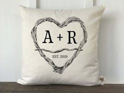 Twig Heart Initials Personalized Pillow Cover - Returning Grace Designs
