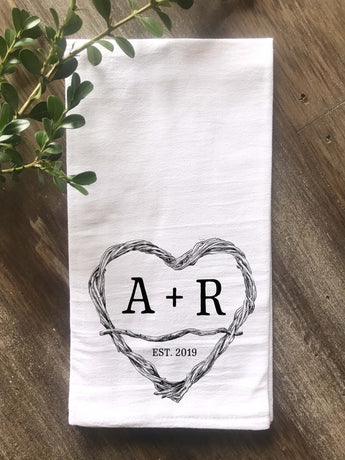 Twig Heart with Initials Flour Sack Tea Towel - Returning Grace Designs