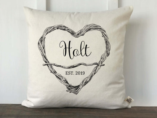 Twig Heart Personalized Pillow Cover - Returning Grace Designs