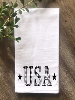 USA Buffalo Check Letters Flour Sack Tea Towel - Returning Grace Designs