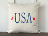 USA Letters with Stars Distressed Pillow Cover - Returning Grace Designs