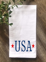 USA Letters with Stars Flour Sack Tea Towel - Returning Grace Designs
