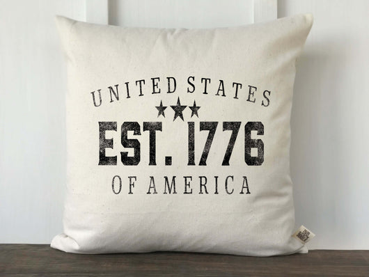 United States of America Est. 1776 Text Distressed Pillow Cover - Returning Grace Designs