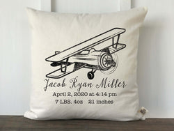 Vintage Airplane Personalized Baby Pillow Cover - Returning Grace Designs