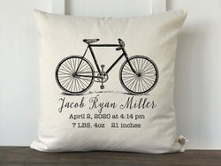 Vintage Bicycle Personalized Baby Pillow Cover - Returning Grace Designs