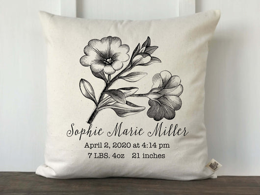 Vintage Flower Sketch Personalized Baby Pillow Cover - Returning Grace Designs