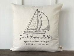 Vintage Sailboat Personalized Baby Pillow Cover - Returning Grace Designs