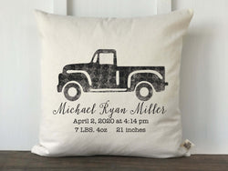 Vintage Truck Personalized Baby Pillow Cover - Returning Grace Designs
