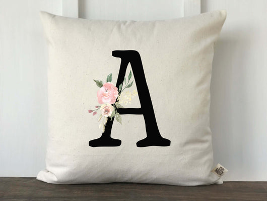 Vintage Block Floral Monogram Pillow Cover - Returning Grace Designs