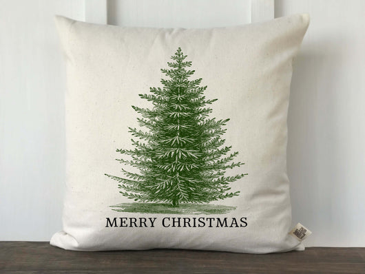 Vintage Christmas Tree Merry Christmas Pillow Cover - Green and Black - Returning Grace Designs