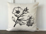 Vintage Floral Illustration Pillow Cover - Returning Grace Designs