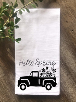 Hello Spring Vintage Truck Flour Sack Tea Towel - Returning Grace Designs