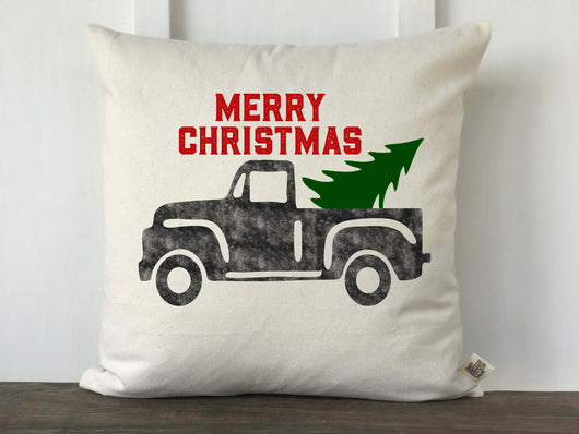Merry Christmas Vintage Truck Pillow Cover - Returning Grace Designs