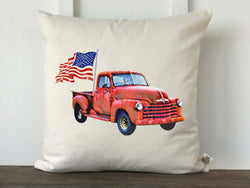 Vintage Truck with Flag Pillow Cover - Returning Grace Designs