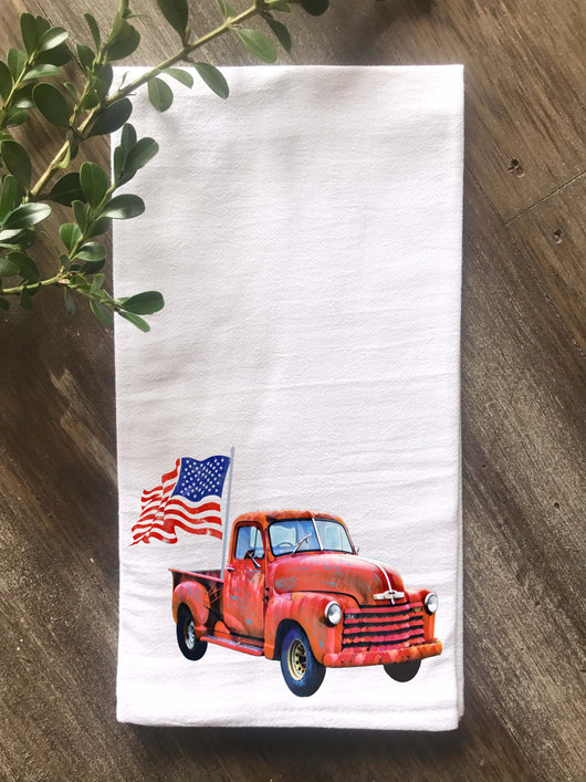 Vintage Truck with Flag Flour Sack Tea Towel - Returning Grace Designs